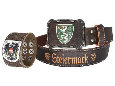 Ledergürtel Steiermark mit Österreich Armband