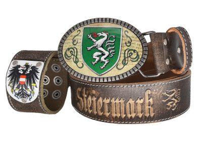 Ledergürtel Steiermark Premium mit Armband Österreich