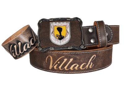 Ledergürtel mit Wappen Villach