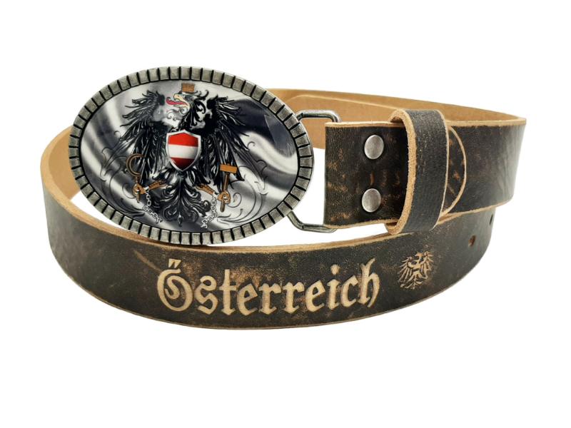 Ledergürtel Österreich Silberline mit Österreich Wappen