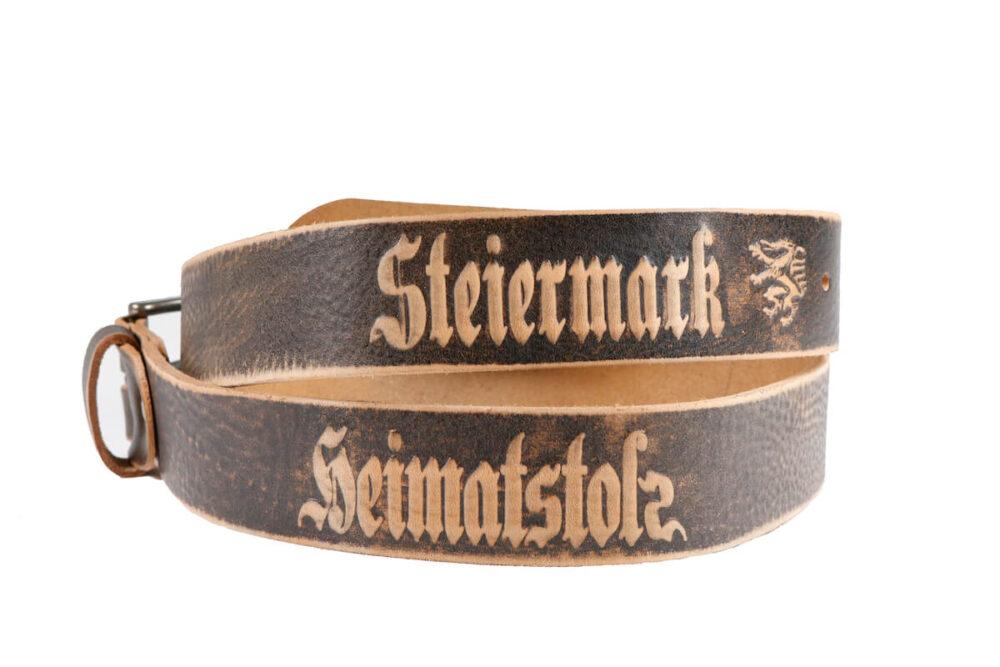 Ledergürtel Heimatstolz und Steiermark Gürtel mit Dornschnalle