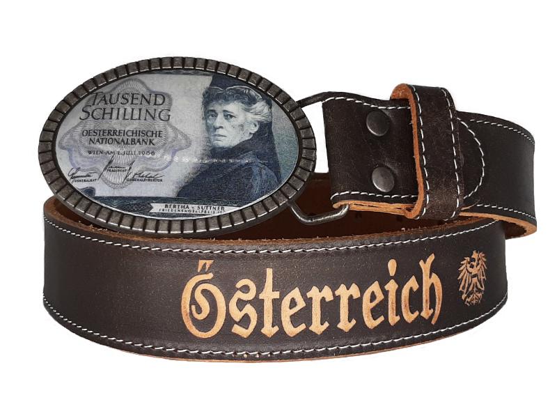 Ledergürtel 1000 Schilling Bertha von Suttner und Österreich Lederprägung