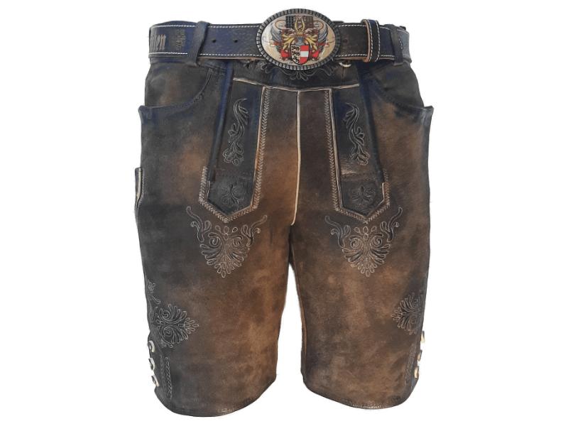 Moderne Lederhose braun mit Kärnten Gürtel
