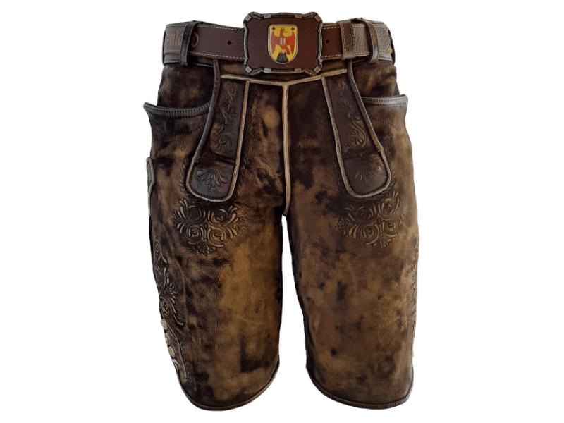 Lederhose Kork antik mit Ledergürtel Burgenland