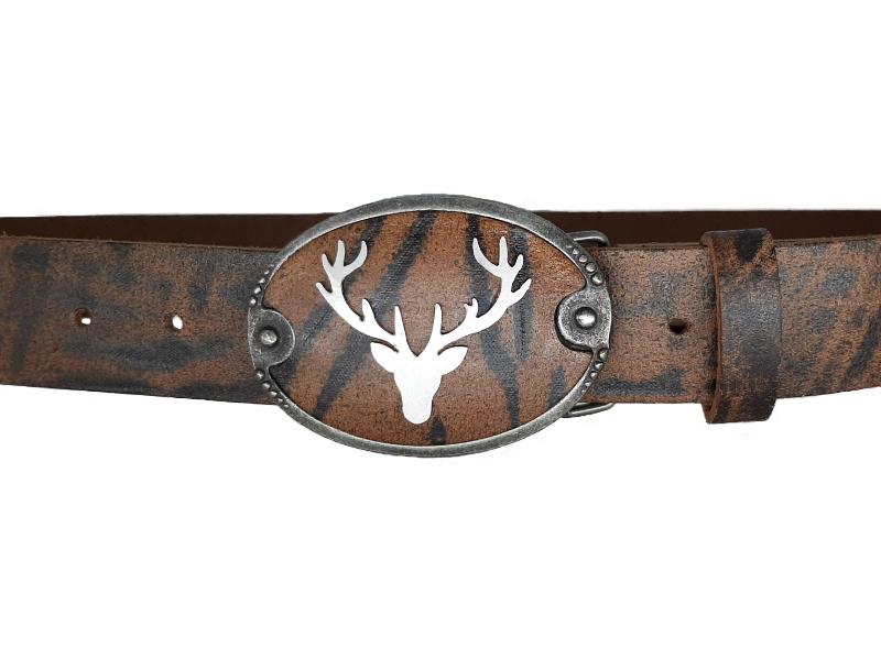Stahlhirsch Trachtengürtel Bull Antik